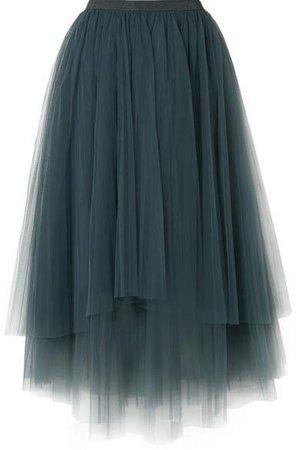 Embellished Layered Tulle Midi Skirt - Petrol