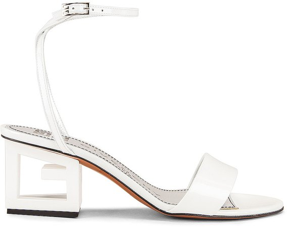 Patent Leather Triangle Heel Strap Sandals in Off White | FWRD