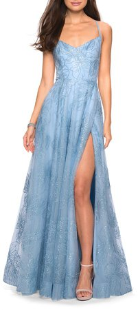 Sequin Floral A-Line Gown