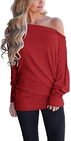 Poetsky Women's Off Shoulder Tops Casual Loose Shirt Batwing Sleeve Tunics Blouse at Amazon Women's Clothing store