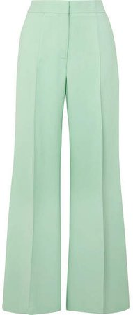 Crepe Wide-leg Pants - Green