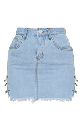 *clipped by @luci-her* Petite Light Wash Chain Detail Denim Mini Skirt   PrettyLittleThing USA
