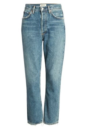 AGOLDE Riley High Waist Crop Straight Leg Jeans (Frequency) | Nordstrom