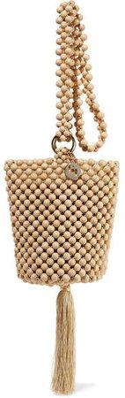 Lucy Tasseled Beaded Bucket Bag - Beige