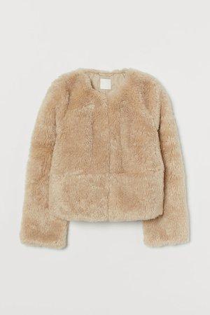 Faux Fur Jacket - Brown