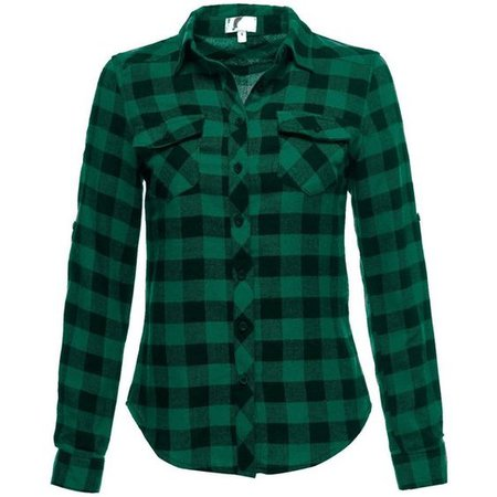Luna Flower Women's LongSleeve Soft Cotton Button Front Plaid Flannel