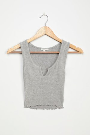 NIA Essential Notched Tank - Grey Ribbed Tank Top - Crop Top