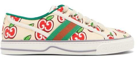 Tennis 1977 Gg-logo Canvas Trainers - Womens - White Multi