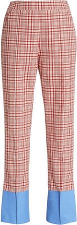 Rosie Assoulin Oboe Plaid Cotton Slim Pants