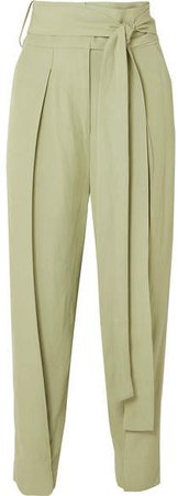 Hallet Belted Woven Straight-leg Pants - Light green