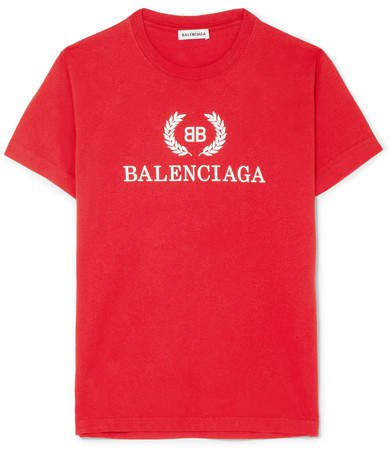 Printed Cotton-jersey T-shirt - Red