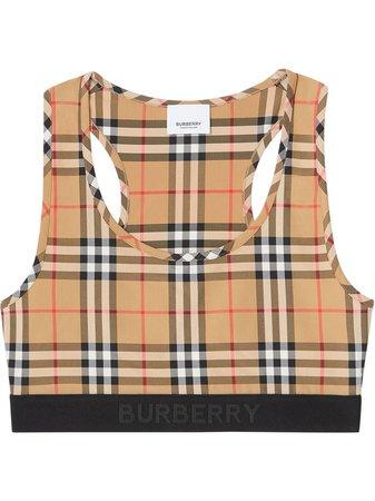 Burberry Vintage Check Sports Bra Ss20 | Farfetch.com