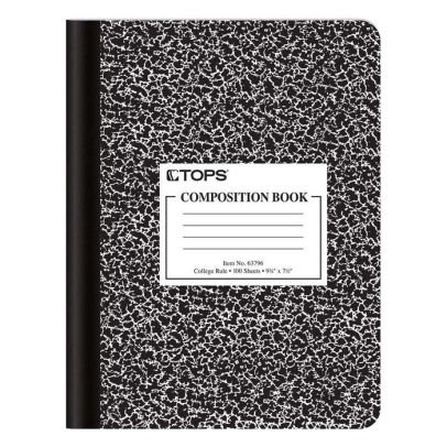"Oxford® Composition Book, 9 3/4"" x 7 1/2"", College Rule, Black Marble Cover, 100 Sheets 