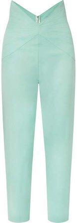 Wool-blend Gabardine Tapered Pants - Light green