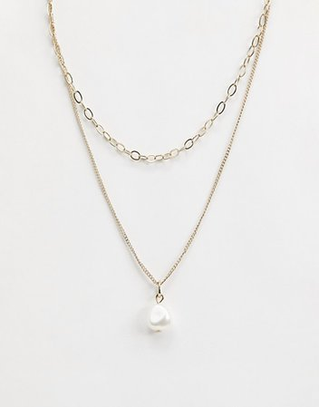 Liars & Lovers organic pearl gold chain necklace | ASOS