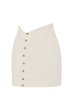 'Manhattan' Beige Linen Asymmetric Mini Skirt - Mistress Rock