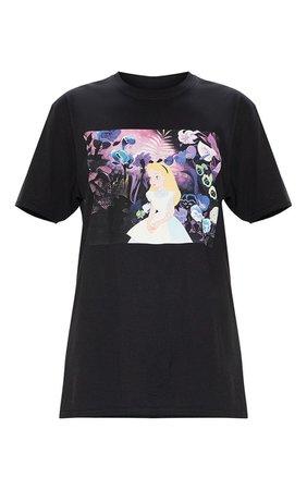 Black Alice In Wonderland Tshirt | Tops | PrettyLittleThing USA