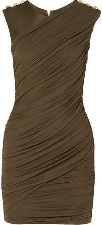 Button-embellished Ruched Stretch-jersey Mini Dress - Army green