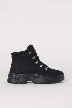 Faux Shearling-lined Boots - Black