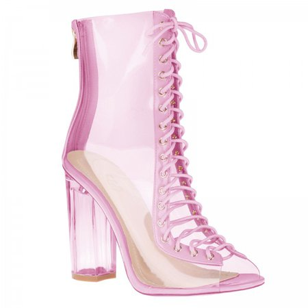 pink boots with clear block heel - Google Search