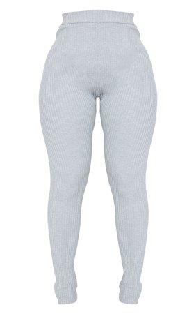 Shape Grey Soft Knit Rib High Waist Leggings | PrettyLittleThing USA