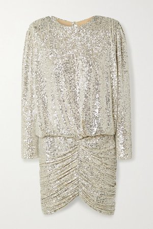 Flynn Ruched Sequined Tulle Mini Dress - Beige
