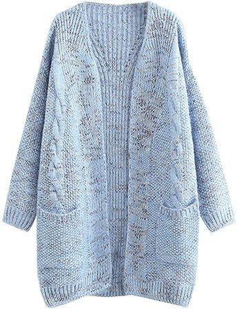 FUTURINO Women's Cable Twist School Wear Boyfriend Pocket Open Front Cardigan Popcorn Sweaters Blue at Amazon Women's Clothing store