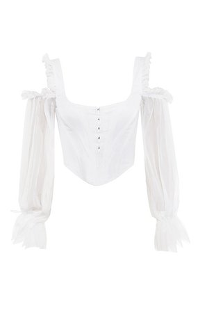 Clothing : Tops : 'Claudette' White Corset with Drop Sleeves