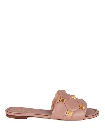 Valentino Garavani Quilted Roman Stud Slide Sandals | INTERMIX®