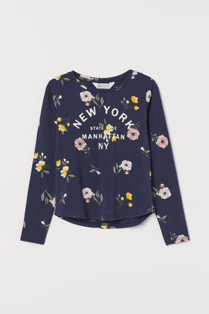 Printed Jersey Top - Blue