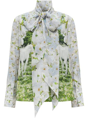 Shop white & green Burberry meadow print crepe de chine pussy-bow blouse with Express Delivery - Farfetch