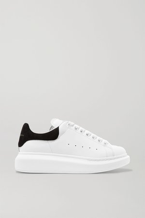 White Suede-trimmed leather exaggerated-sole sneakers | Alexander McQueen | NET-A-PORTER