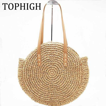 New Natural Ladies Tote large handbag hand woven big straw bag round popularity straw Women Shoulder Bag beach holiday bag-in Shoulder Bags from Luggage & Bags on Aliexpress.com   Alibaba Group
