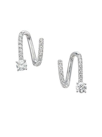 Anita Ko 18kt White Gold Diamond Spiral Earrings - Farfetch