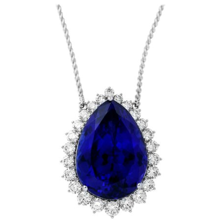 63.75 Carat Pear Shaped Tanzanite and White Diamond Necklace For Sale at 1stDibs