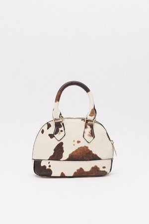 Cow Print Structured Mini Bowling Bag   Shop Clothes at Nasty Gal!