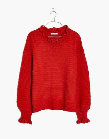 Women's Ruffle-Neck Pullover Sweater | Madewell