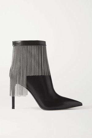 Black Mercy fringed leather ankle boots | Balmain | NET-A-PORTER