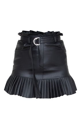 Black Faux Leather Pleated Hem Mini Skirt | PrettyLittleThing USA