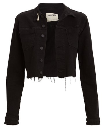 L'Agence | Aria Safety Pin Denim Jacket | INTERMIX®