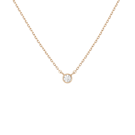 XL Diamond Bezel Necklace in Yellow, Rose or White Gold
