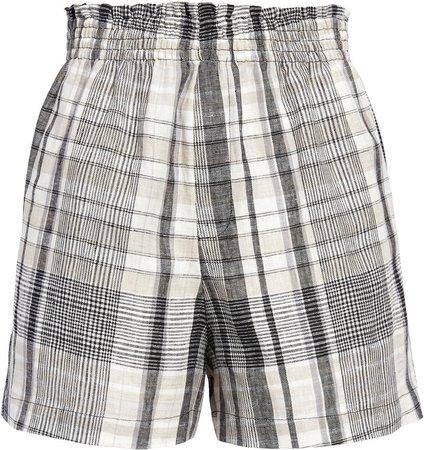Rand High Waist Plaid Linen Shorts