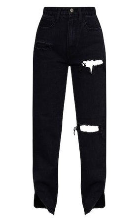 Petite Black Distressed Split Hem Jeans | PrettyLittleThing