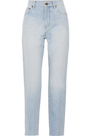 Saint Laurent | Distressed high-rise straight-leg jeans | NET-A-PORTER.COM