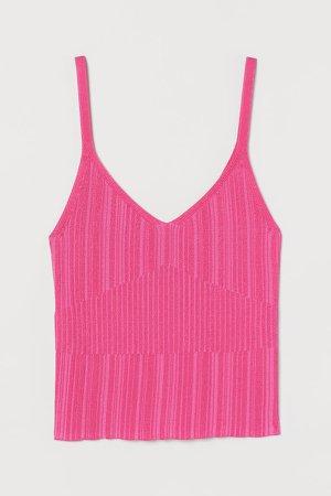 Textured-knit Tank Top - Pink