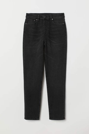 Mom High Ankle Jeans - Black