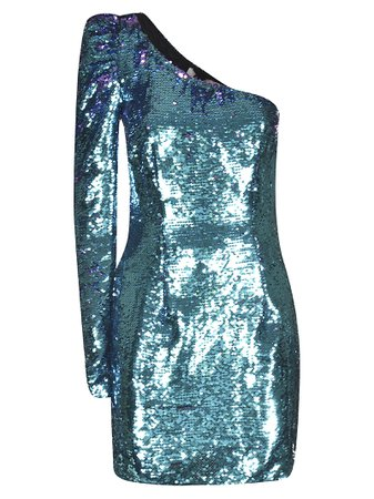 Amen Sequin Coated One-sleeve Dress