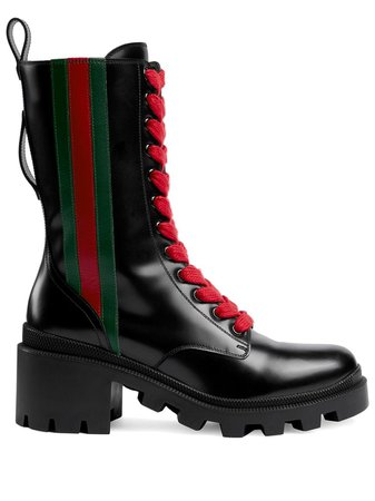 Gucci Web Striped Boots | Farfetch.com