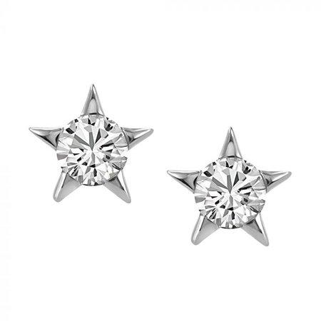 14KT White Gold Diamond Star Earrings EAR-DIA-1716