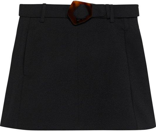 Belted Twill Mini Skirt